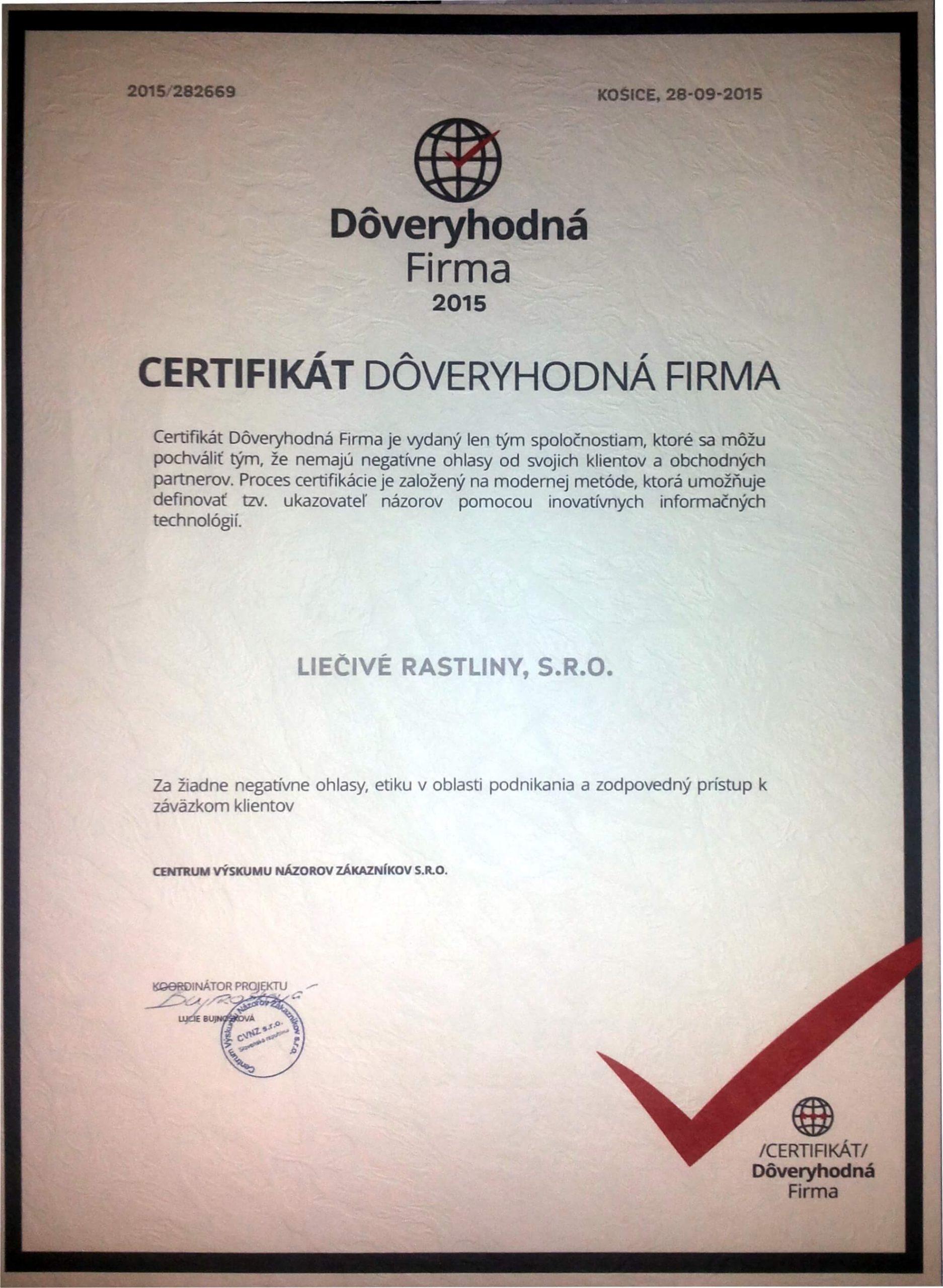 Liečivé rastliny Certifikát Dôverihodná firma